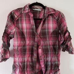 Brown & pink button-up shirt.